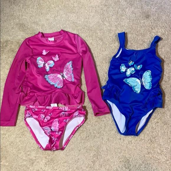 NWT Gymboree Little Blue Island Fish Swim Bathing Suit Swimsuit 1PC Baby Girl